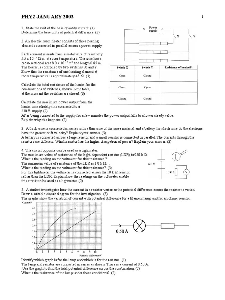 edexcel a level phy2 january 2003 qp electrical resistance and conductance resistor [ 768 x 1024 Pixel ]