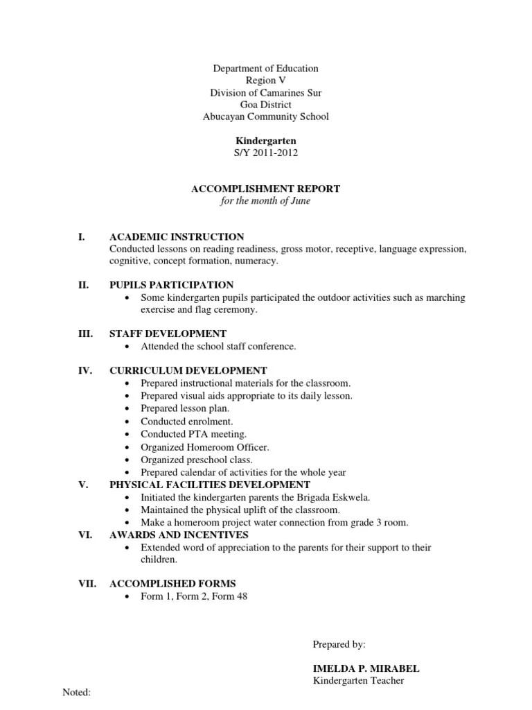 Accomplishment Report | Kindergarten | Preschool