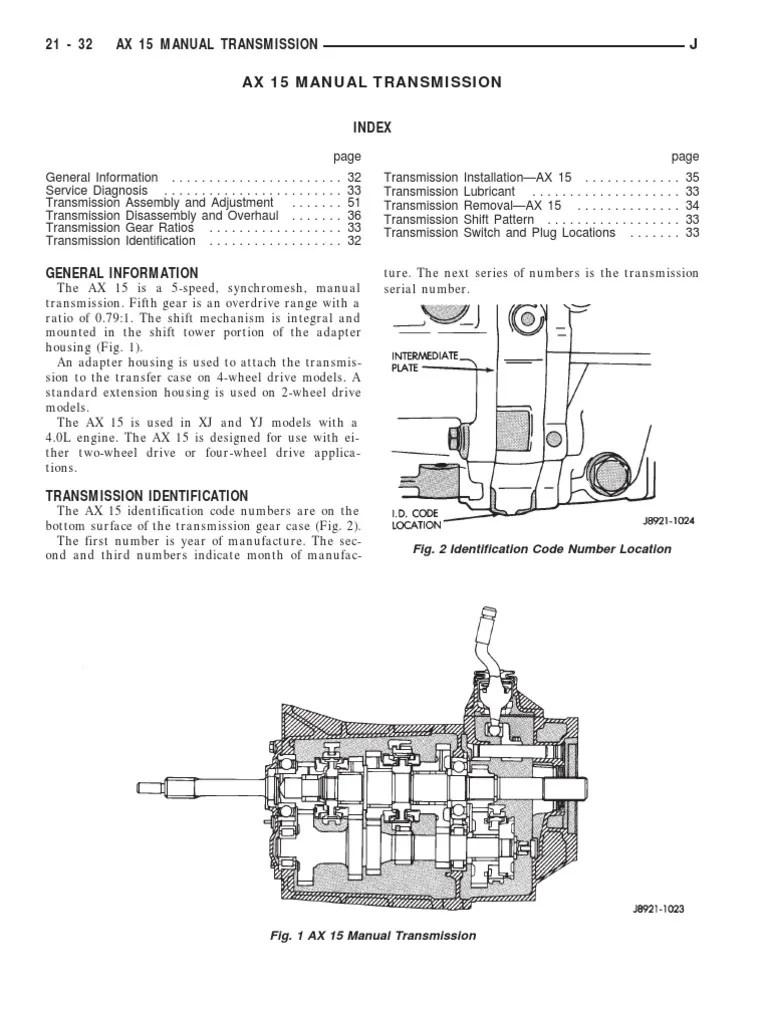 medium resolution of jeep ax15 service manual transmission manual transmission ax15 transmission schematic ax15 transmission schematic