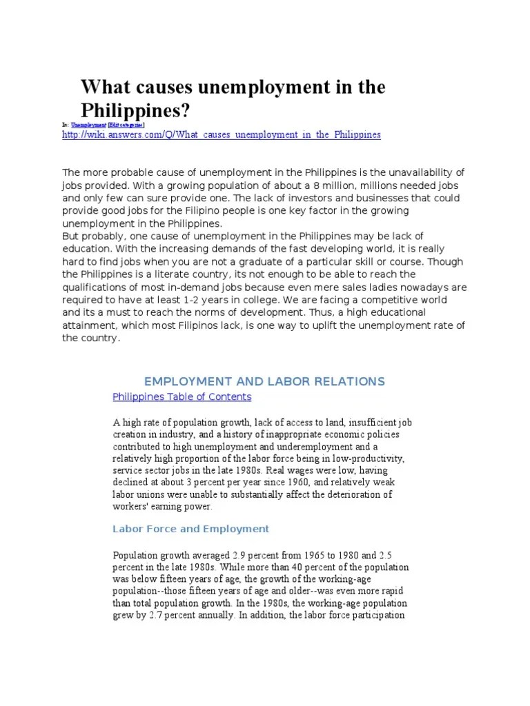 What Causes Unemployment In The Philippines