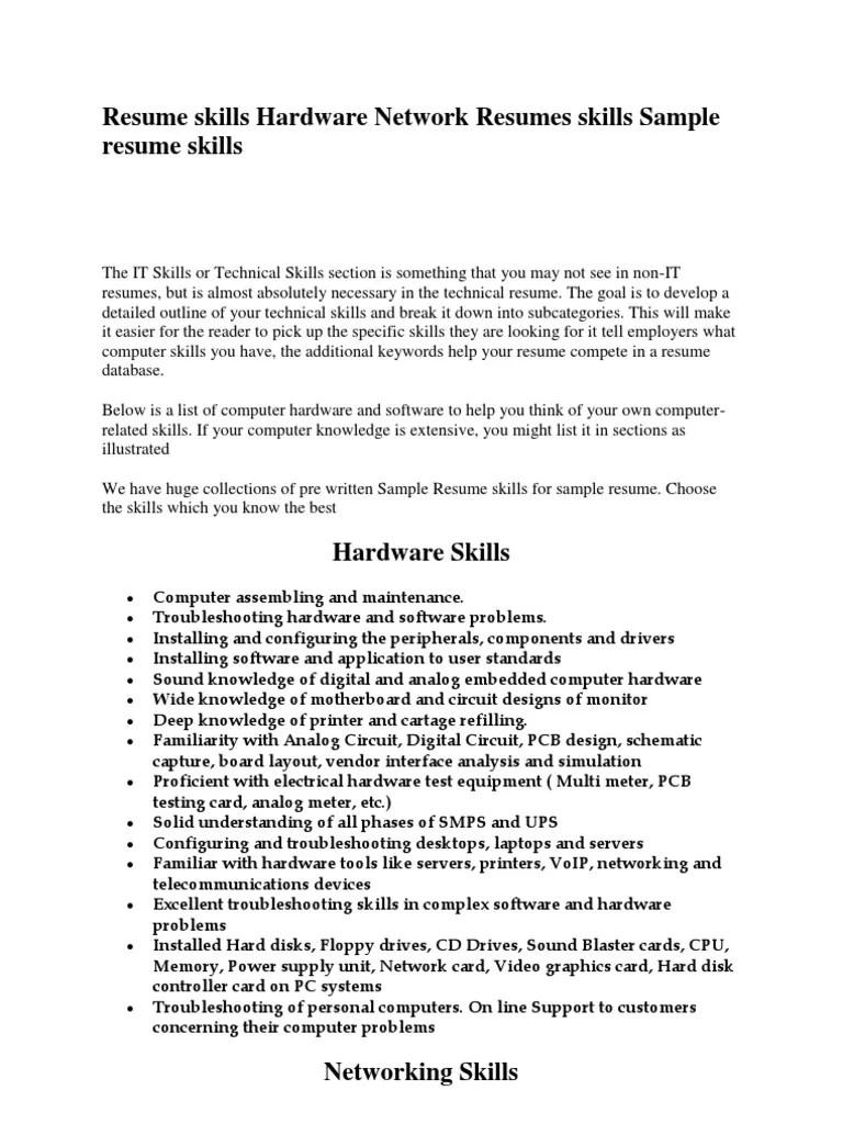 Networking Skills List For Resume Resume Ideas