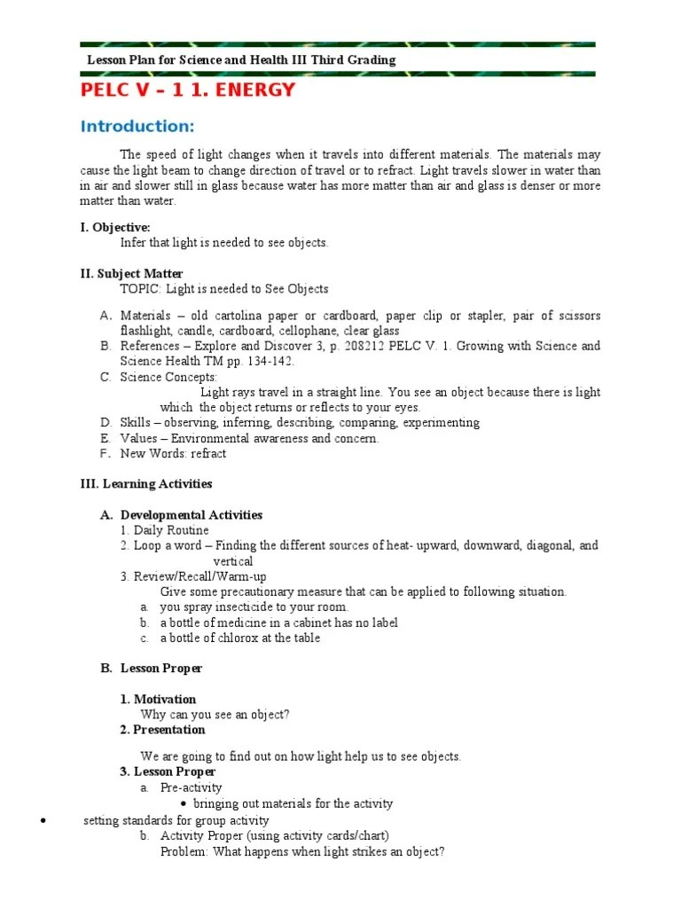 Grade 3 3rd Grading Science   Shadow   Lesson Plan [ 1024 x 768 Pixel ]