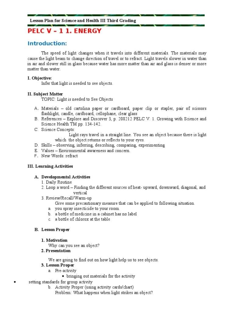 medium resolution of Grade 3 3rd Grading Science   Shadow   Lesson Plan