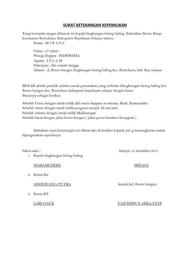 Contoh Surat Pernyataan Kepemilikan Tanah Dan Bangunan : contoh, surat, pernyataan, kepemilikan, tanah, bangunan, Surat, Pernyataan, Milik