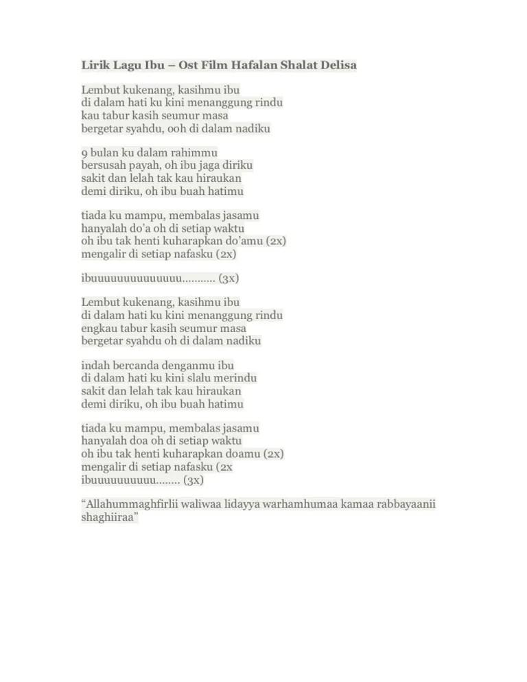 Lirik Lagu Doa Ibu : lirik, Lirik