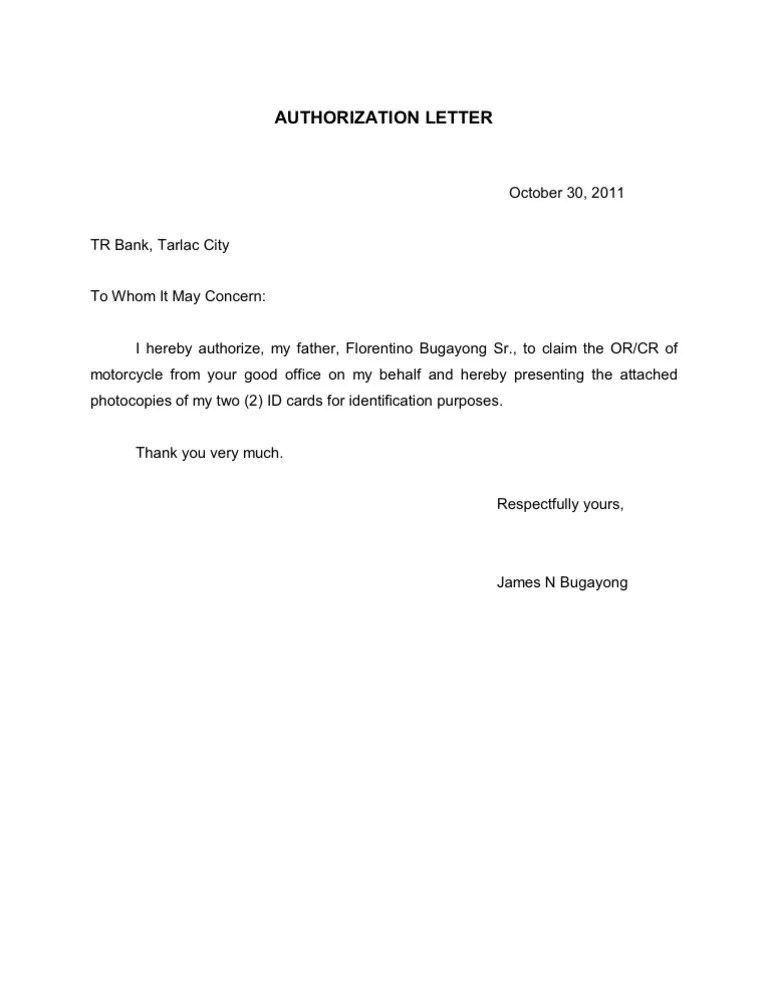 Authorization Letter With Attached Id Modelo Curriculum Vitae