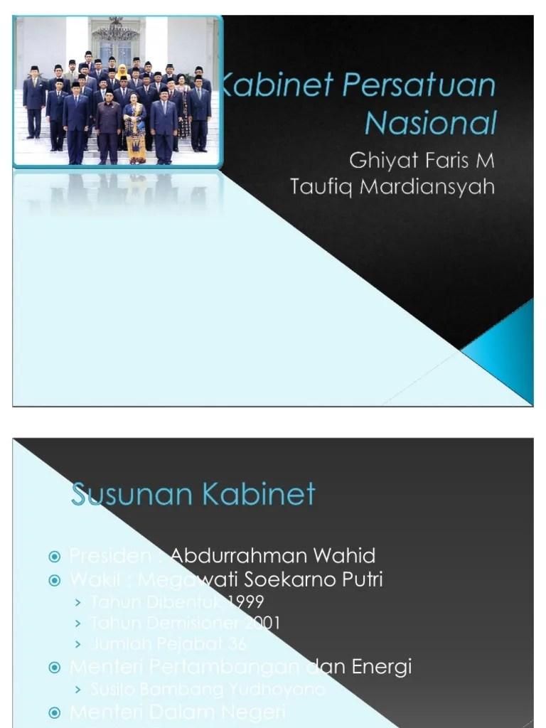 Nama Kabinet Gusdur : kabinet, gusdur, Kabinet, Persatuan, Nasional