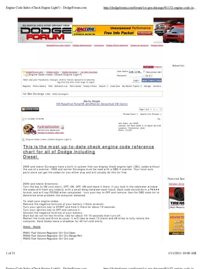 medium resolution of engine code index check engine light dodge forum ignition system fuel injection