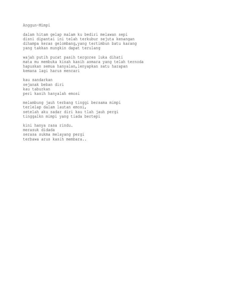 Lirik Lagu Mimpi - Anggun C. Sasmi - KapanLagi.com