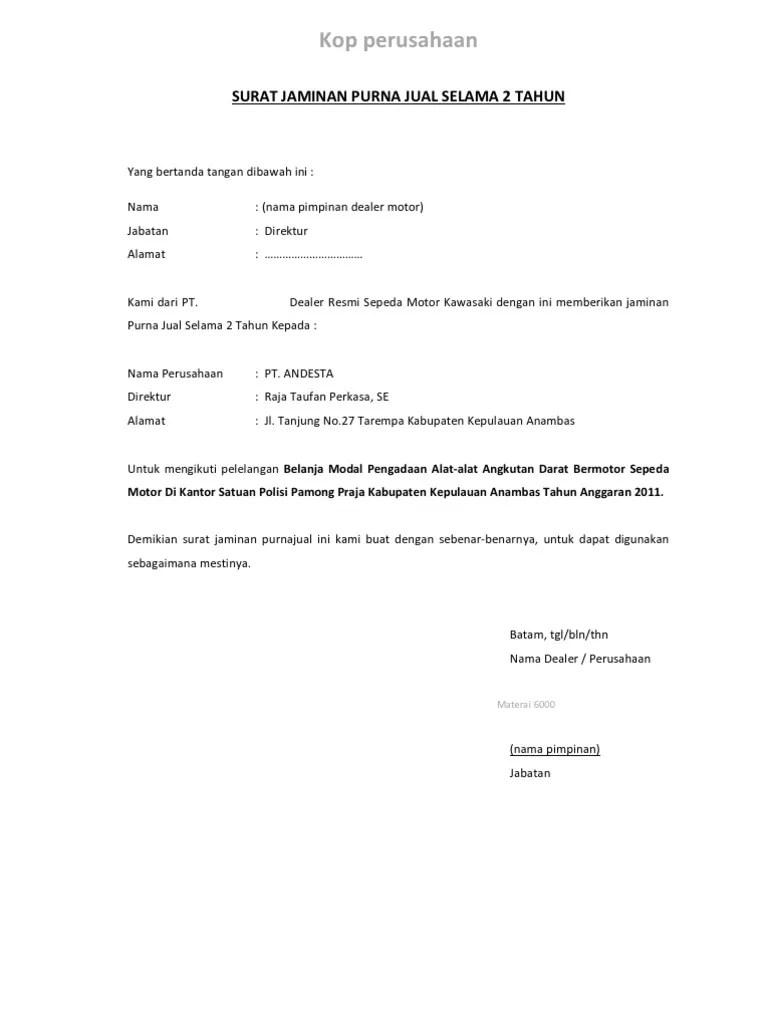 Surat Garansi Produk : surat, garansi, produk, Contoh, Surat, Keterangan, Garansi, Barang, Cute766