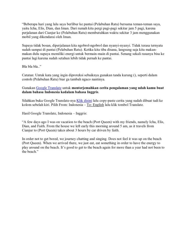 Cerita Liburan Ke Pantai Dalam Bahasa Inggris Dan Terjemahannya : cerita, liburan, pantai, dalam, bahasa, inggris, terjemahannya, Contoh, Pengalaman, Liburan, Dalam, Bahasa, Inggris, Cute766