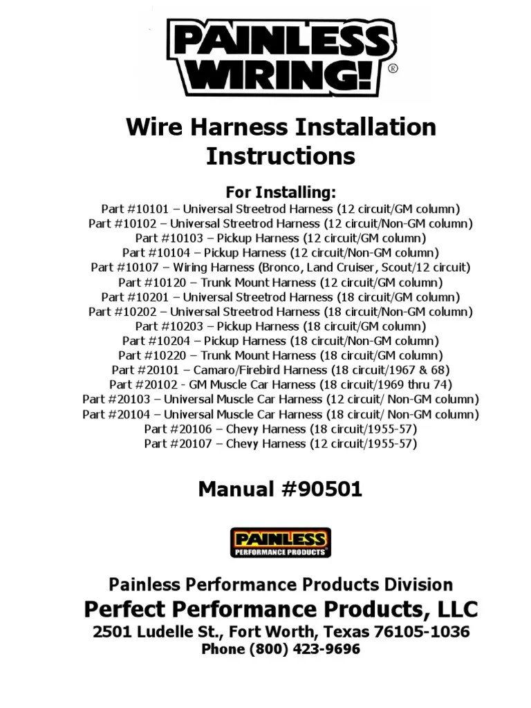 hight resolution of painless wiring harness install instructions ignition system painless wiring harness diagram 10104 netural safty switch