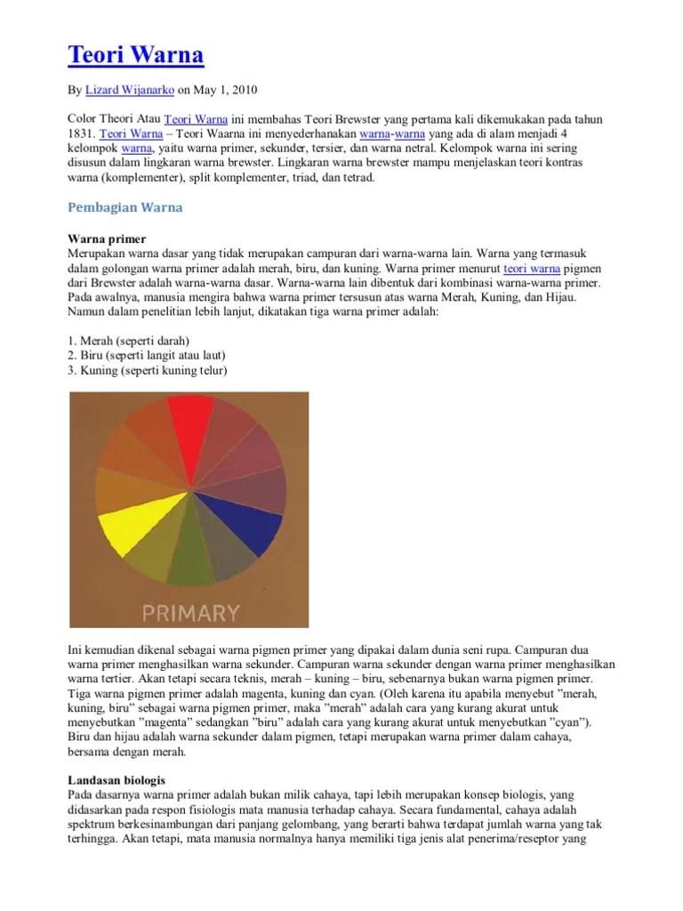 Pengertian Warna Primer Dan Sekunder : pengertian, warna, primer, sekunder, Teori, Warna