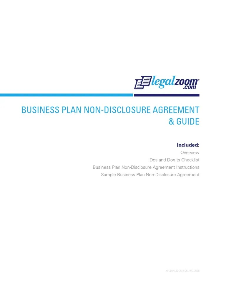 Business Plan Non Disclosure Agreement | Non Disclosure Agreement ...