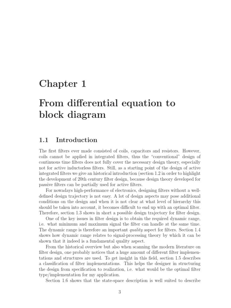 hight resolution of differential equation represented by block diagram 2 passivity engineering electronic filter