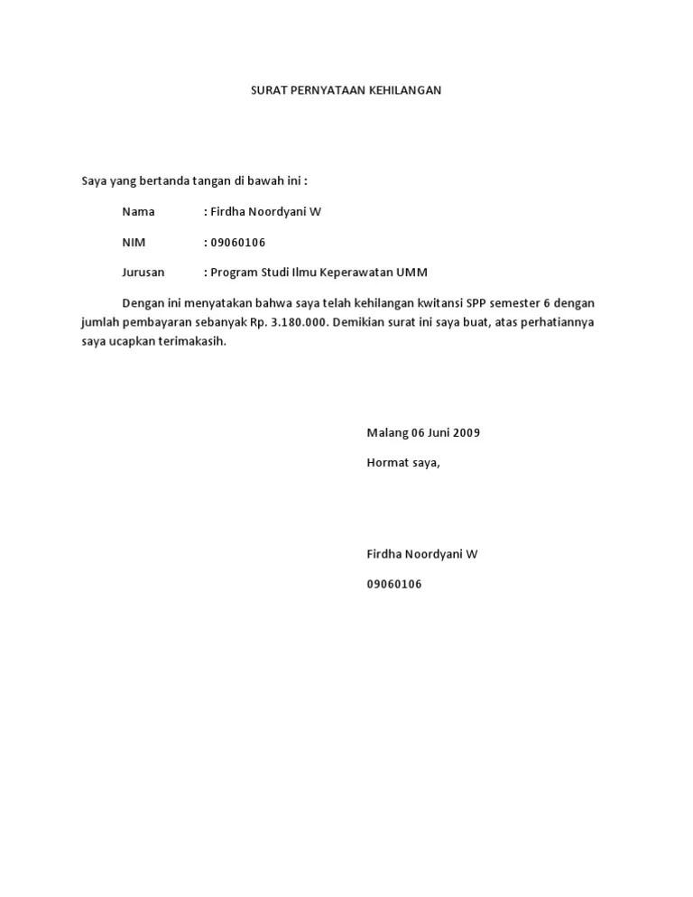 Contoh Surat Pernyataan Kehilangan Kwitansi : contoh, surat, pernyataan, kehilangan, kwitansi, SURAT, PERNYATAAN, KEHILANGAN