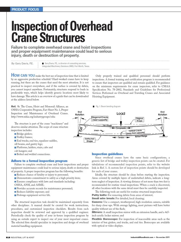 structural inspection of overhead cranes ilh magazine version crane machine fracture [ 768 x 1024 Pixel ]