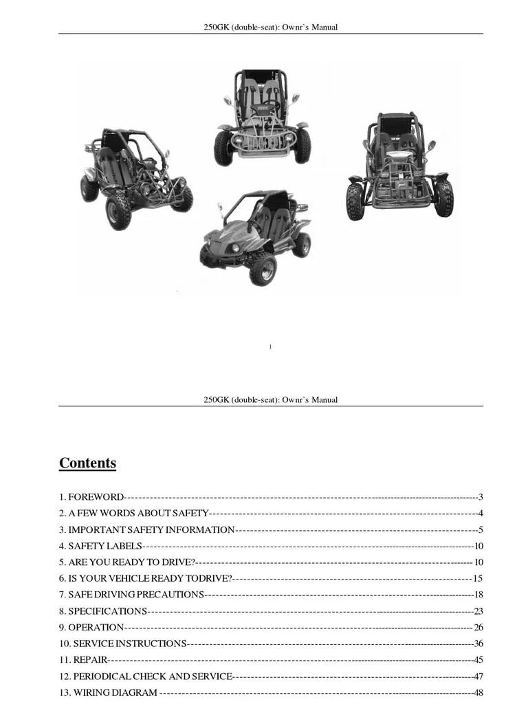medium resolution of 9 kinroad xt250gk sahara 250cc owners manual automatic transmission clutch