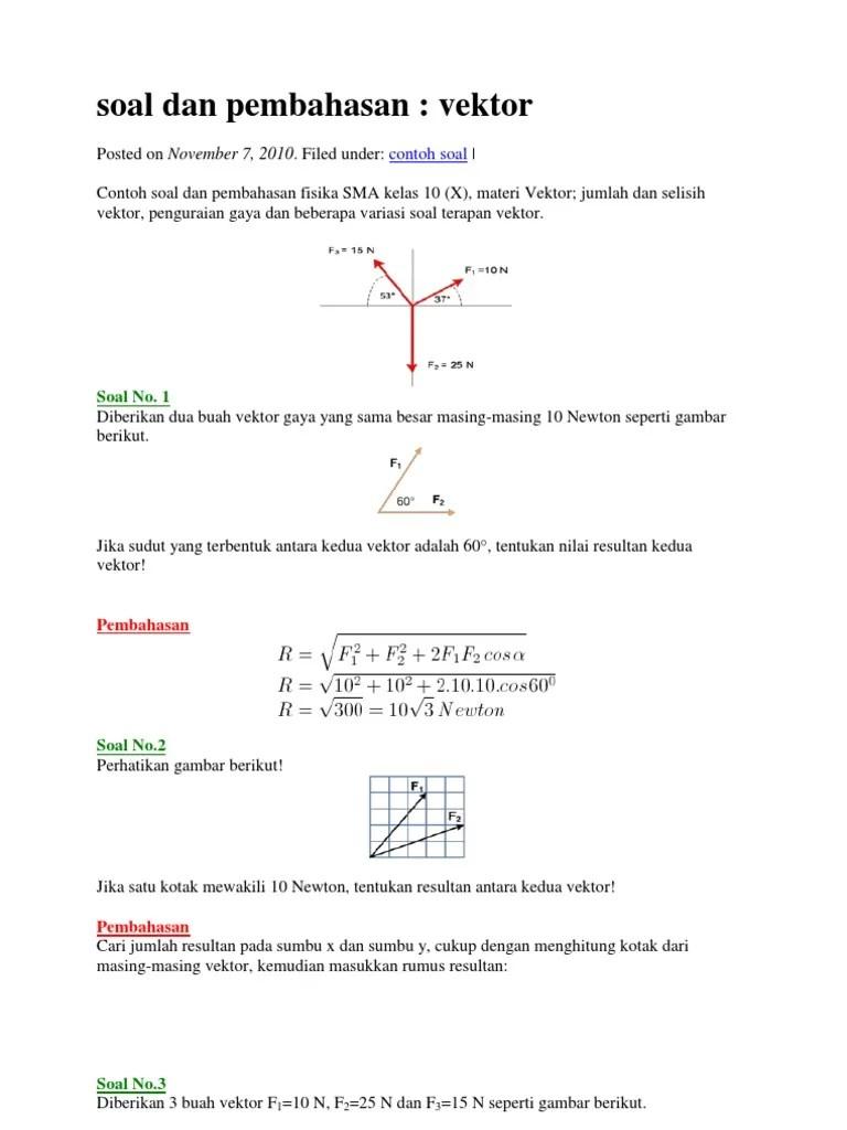 Contoh Soal Vektor Matematika Dan Pembahasannya Pdf