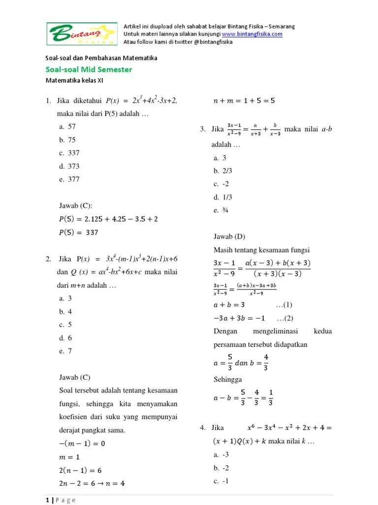Soal Matematika Kelas 11 Semester 1 Dan Jawabannya : matematika, kelas, semester, jawabannya, Latihan, Pembahasan, Semester, Matematika