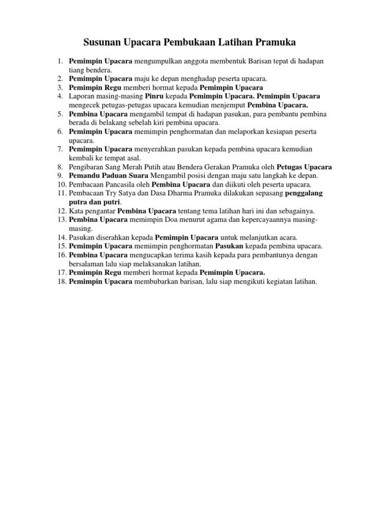 Tata Upacara Pramuka Siaga : upacara, pramuka, siaga, Susunan, Upacara, Pembukaan, Latihan, Pramuka