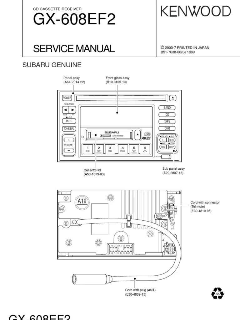 hight resolution of kenwood gx 608ef2 service manual subaru compact cassette power supply