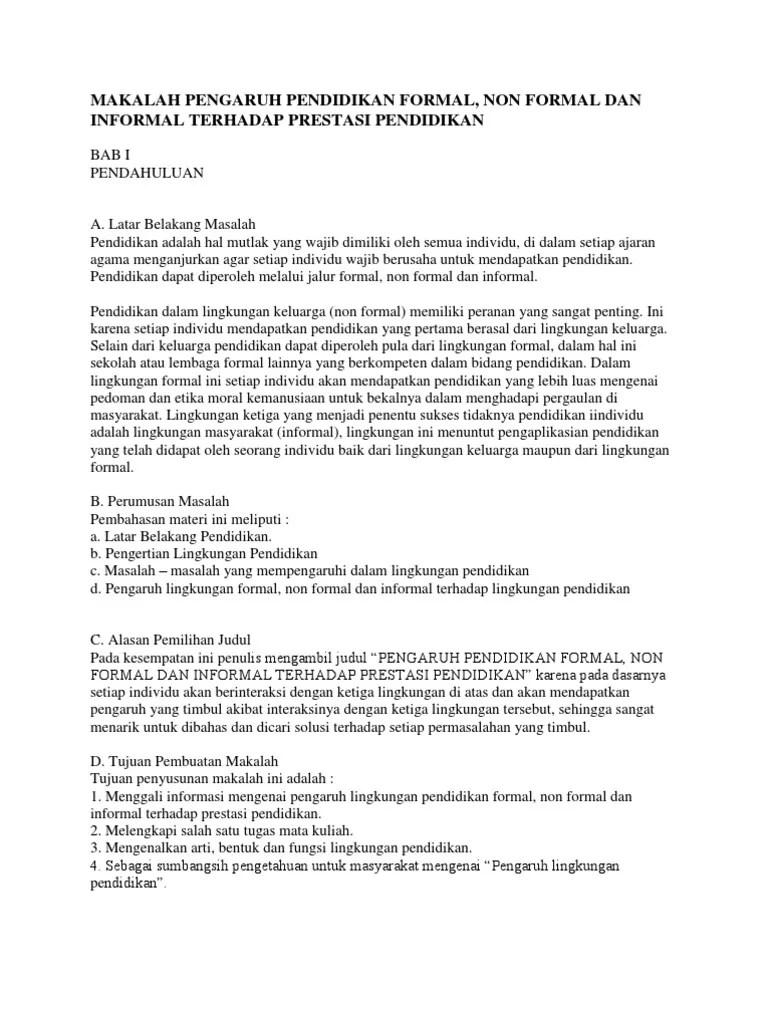 Lembaga Formal Dan Informal : lembaga, formal, informal, Makalah, Pengaruh, Pendidikan, Formal,Non, Formal,Informal
