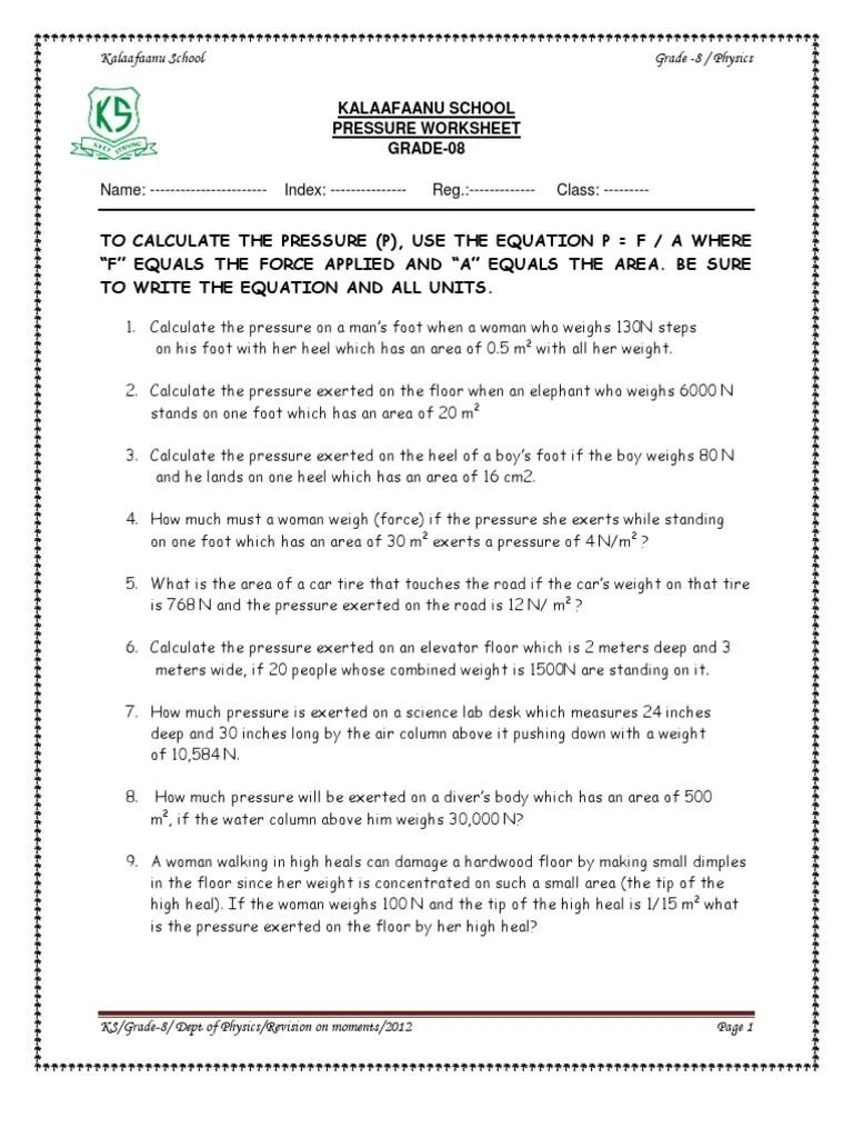 Solid Pressure Worksheet   Weight   Pressure [ 1024 x 768 Pixel ]