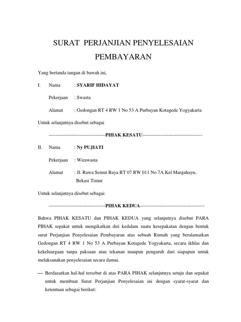 Format Surat Perjanjian Pembayaran Hutang - Guru Paud