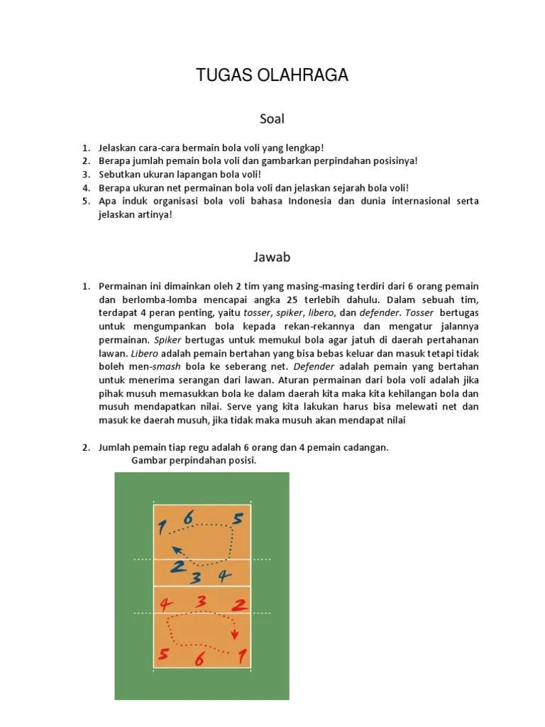 Tugas Pemain Dalam Permainan Bola Voli : tugas, pemain, dalam, permainan, TUGAS, OLAHRAGA
