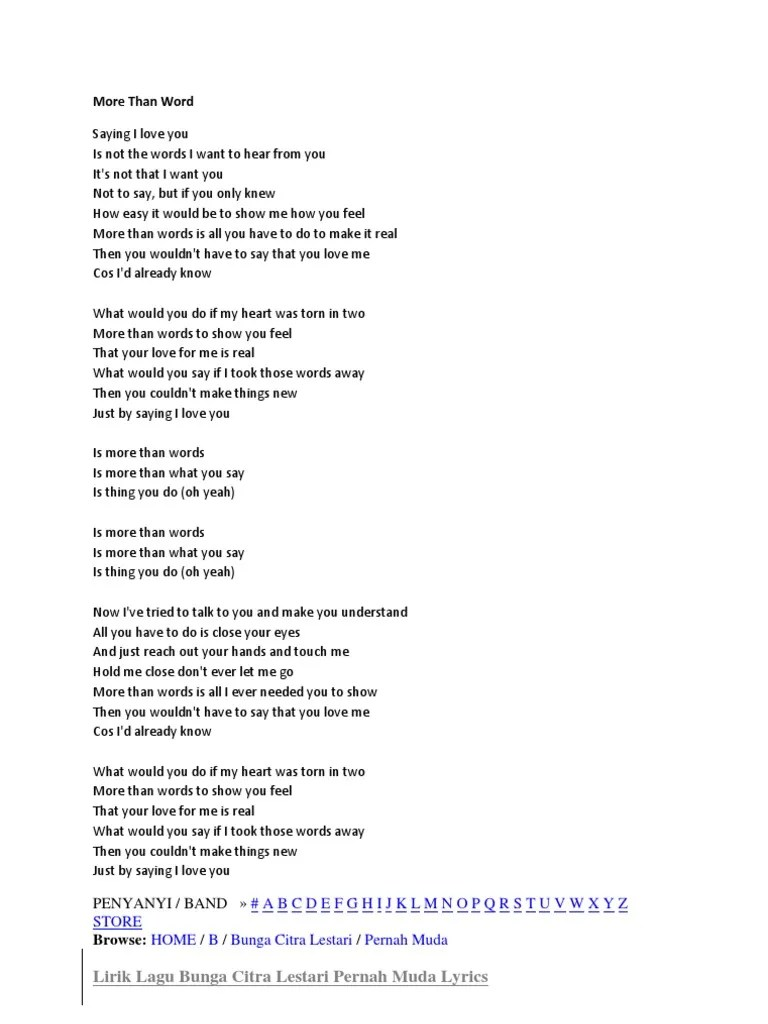 Lirik Lagu More Than Word : lirik