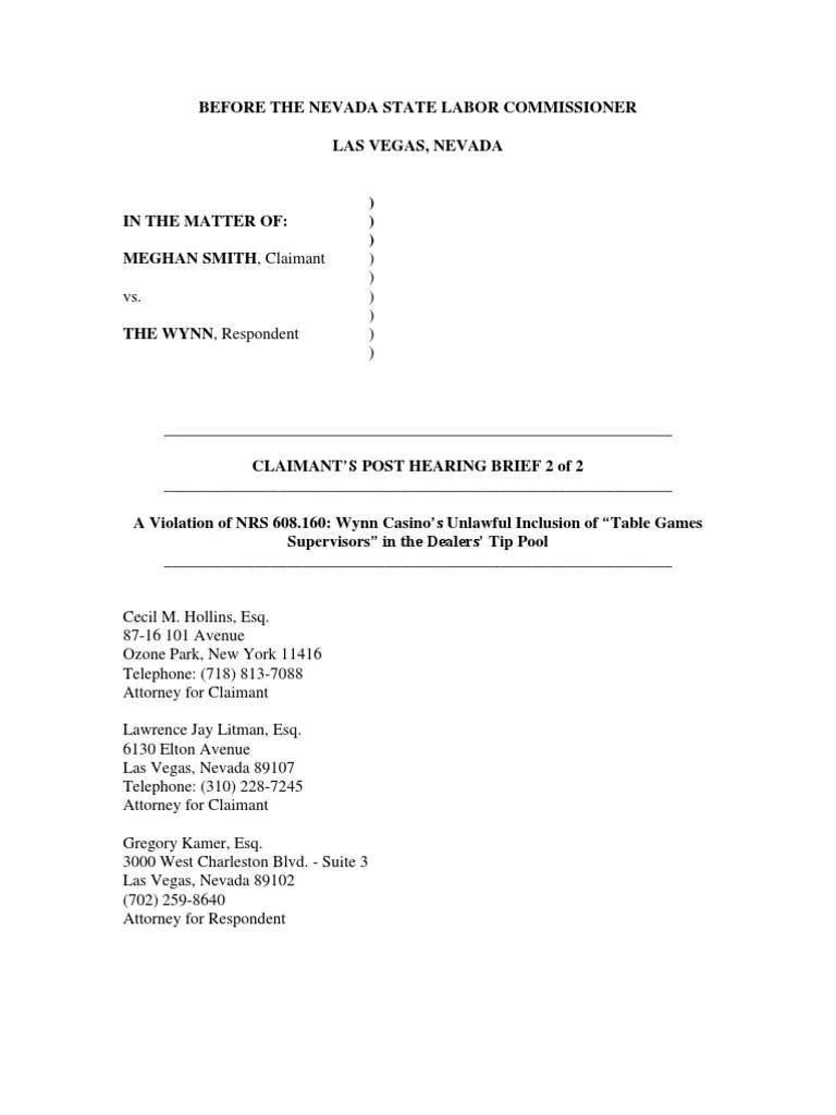 WynnTipPoolExpansionPostHearingBriefFinal7 Constitutional