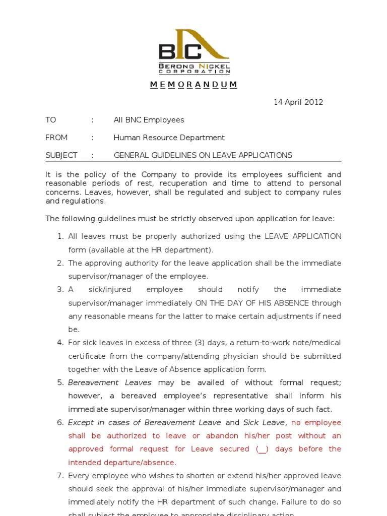 sample memo letter for employees
