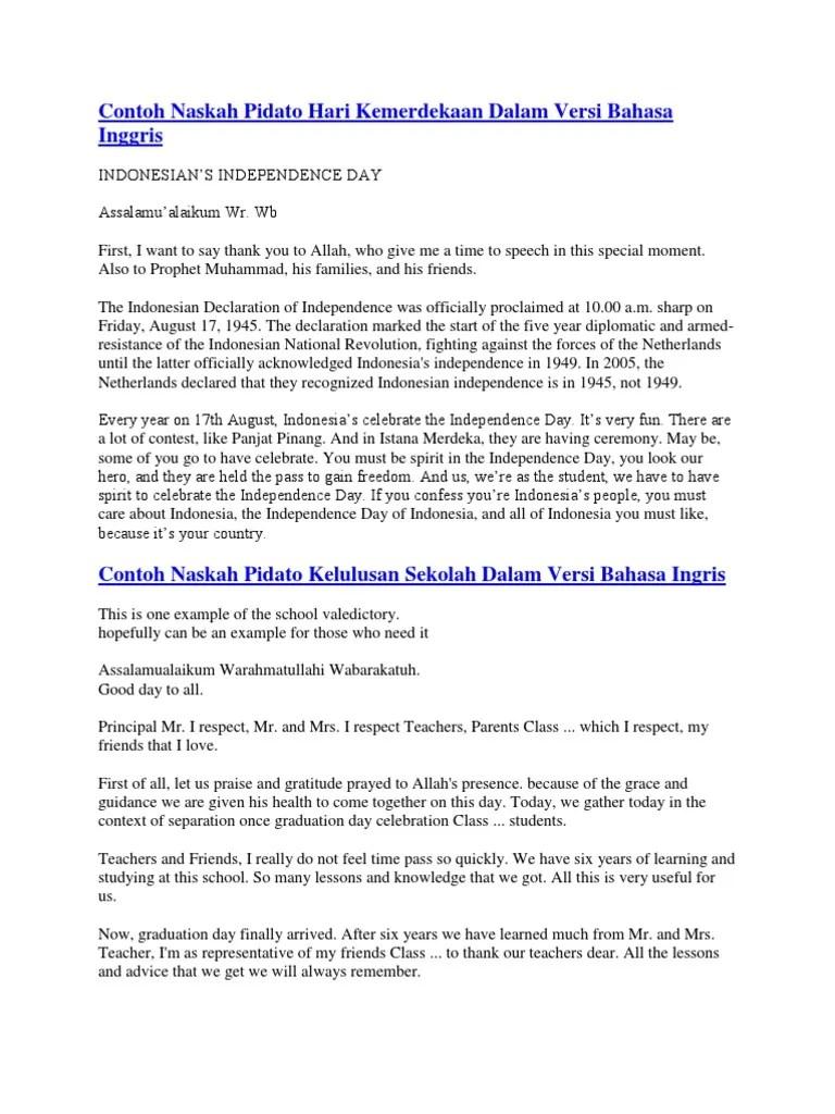 Bahasa Inggris Hari Kemerdekaan : bahasa, inggris, kemerdekaan, Contoh, Naskah, Pidato, Kemerdekaan, Dalam, Versi, Bahasa, Inggris, Indonesian, Language, Internet