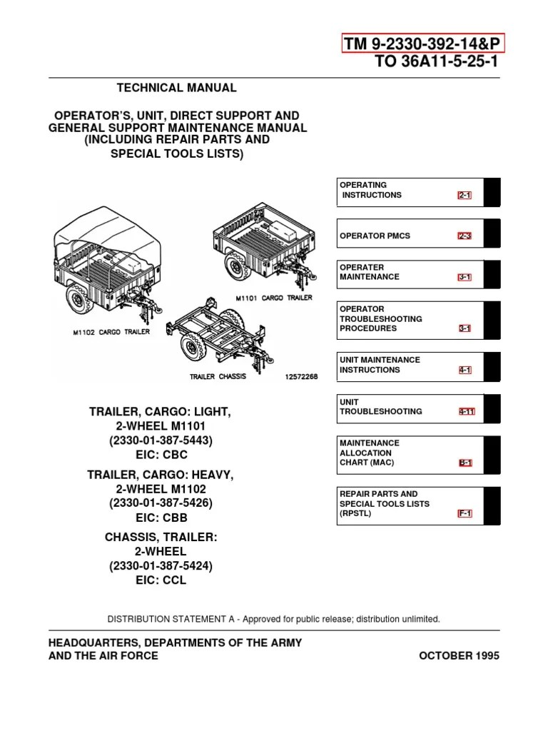 medium resolution of army tm 9 2330 392 14p m1102 m1102 trailer tech manual apr01 humvee trailer vehicle