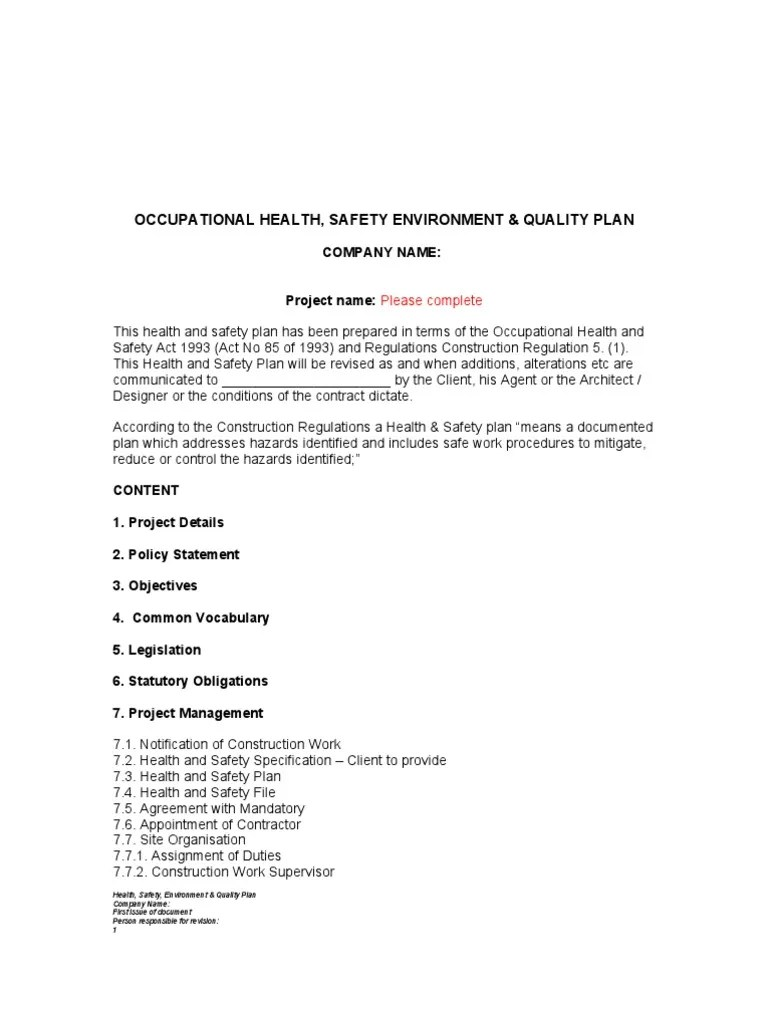 Health And Safety Plan Template | Occupational Safety And Health | Safety