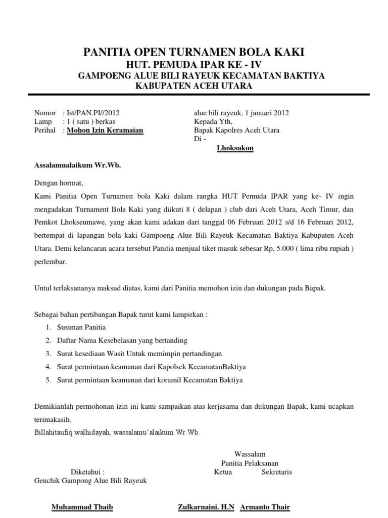 Contoh Surat Permohonan Izin Keramaian Rt Rw - Contoh