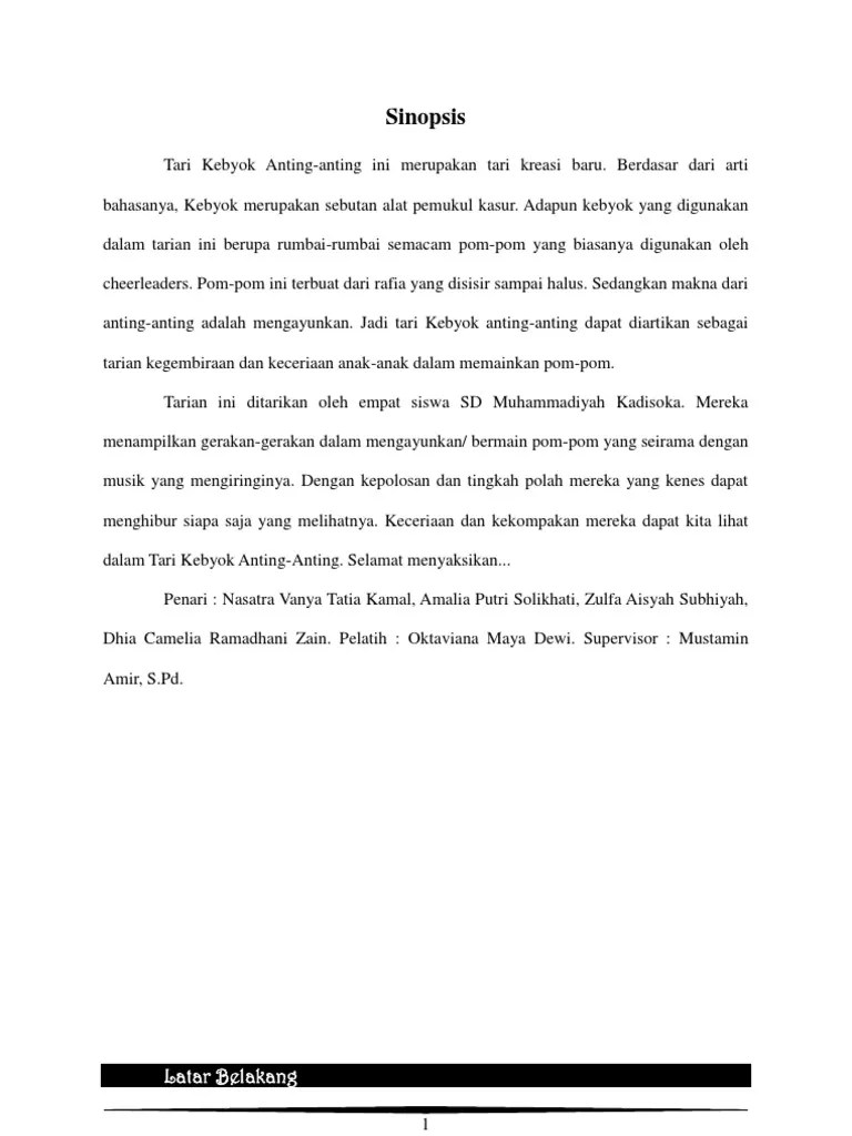 Sinopsis Tari Kreasi : sinopsis, kreasi, Sinopsis