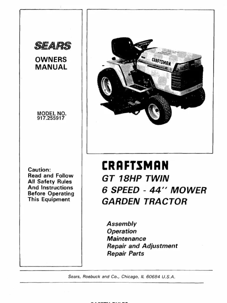 medium resolution of 23302 craftsman gt18 garden tractor 917 255917 tractor lawn mower wiring lighted doorbell button gt18 wiring diagram