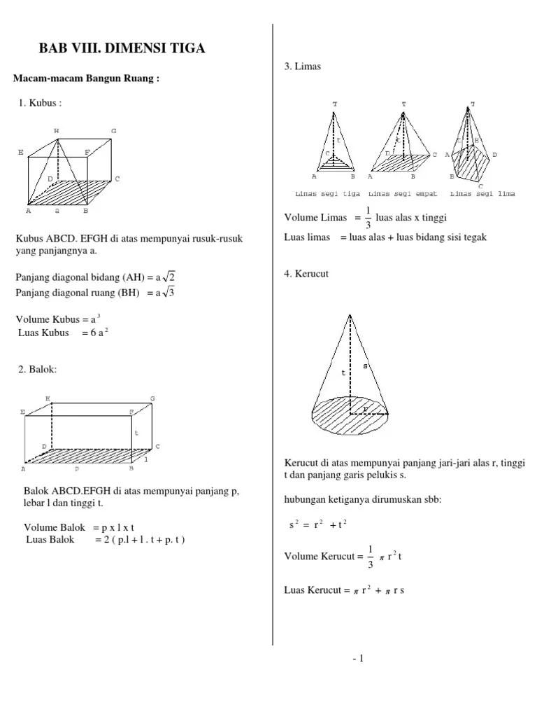 Materi Dimensi Tiga Kelas 12 Kurikulum 2013 : materi, dimensi, kelas, kurikulum, Rangkuman, Materi, Dimensi