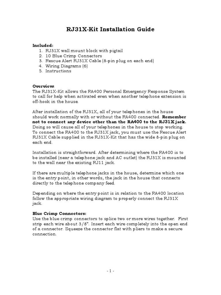 rj31x kit installation guide electrical connector computer hardware rh scribd com install rj31x jack install rj31x [ 768 x 1024 Pixel ]