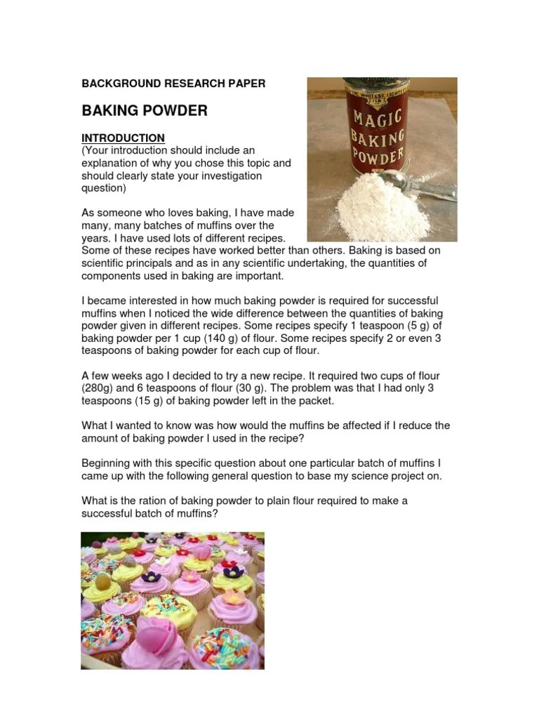 Background Research Paper Example Baking Powder Baking Powder