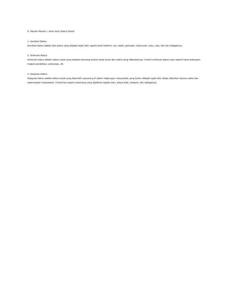 Ascribed Status Adalah : ascribed, status, adalah, Status, Sosial