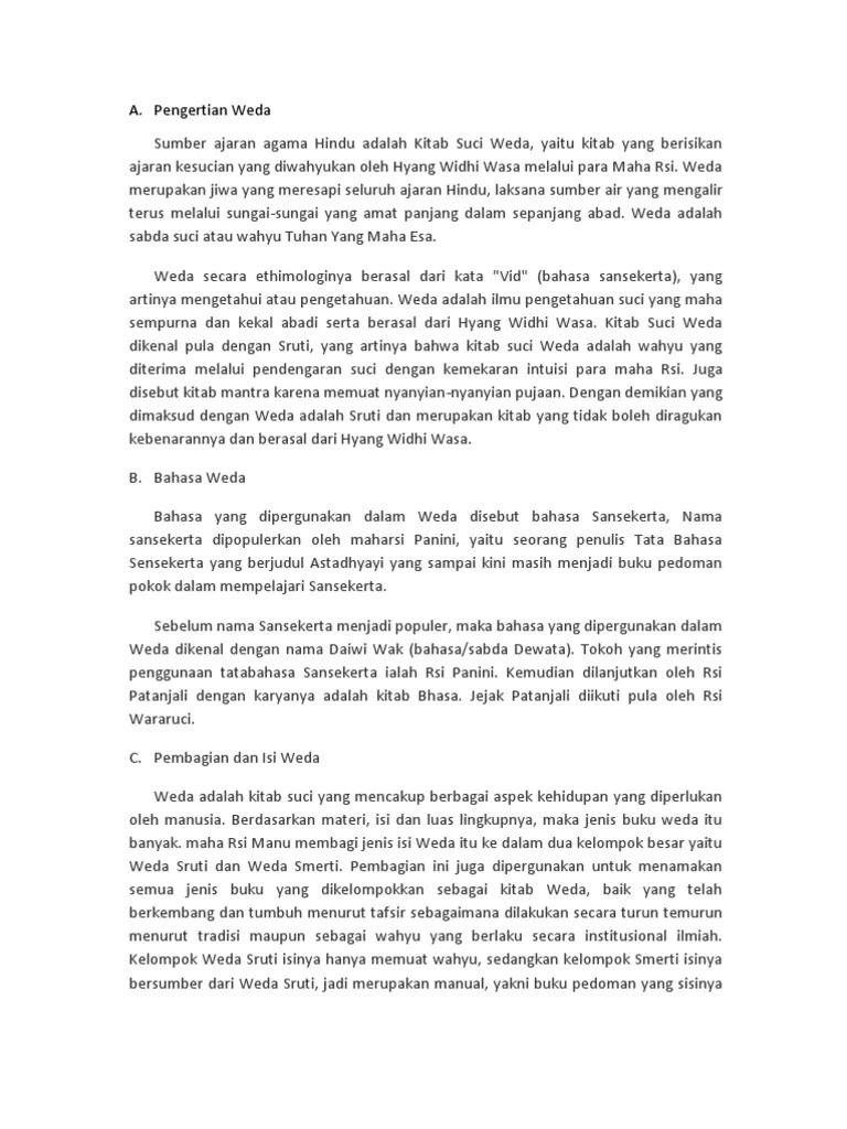 Pembagian Kitab Weda : pembagian, kitab, Pengertian
