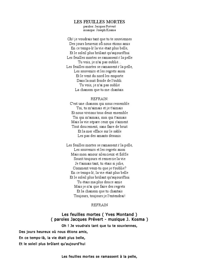 Paroles La Chanson De Prévert : paroles, chanson, prévert, PREVERT, Musique, Country