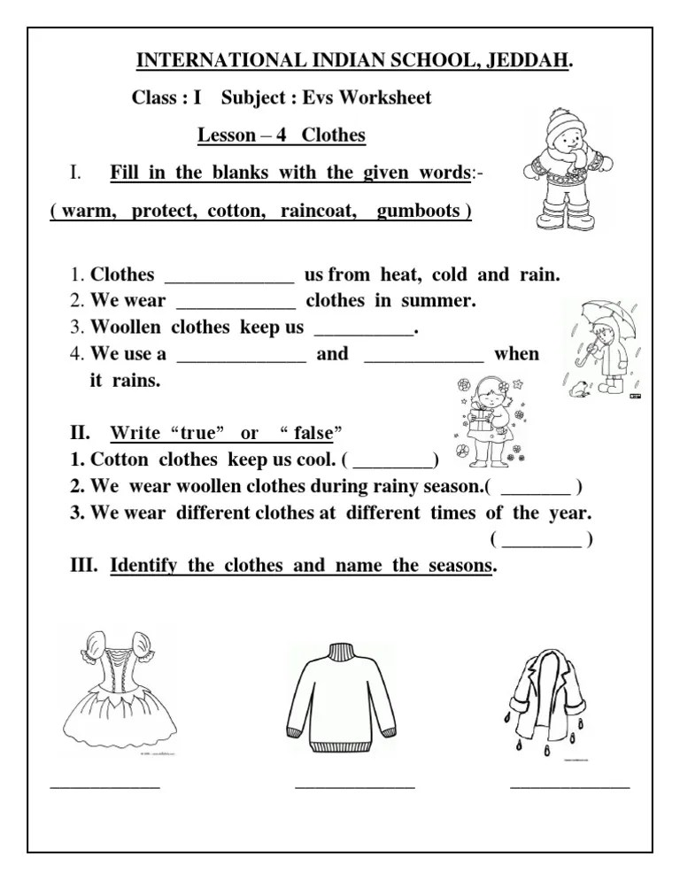 also evs worksheet class  lesson clothes rh scribd