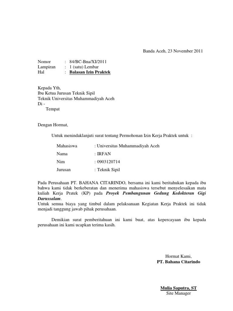 Surat Balasan Pkl Dari Perusahaan Doc : surat, balasan, perusahaan, Contoh, Surat, Balasan, Gudang