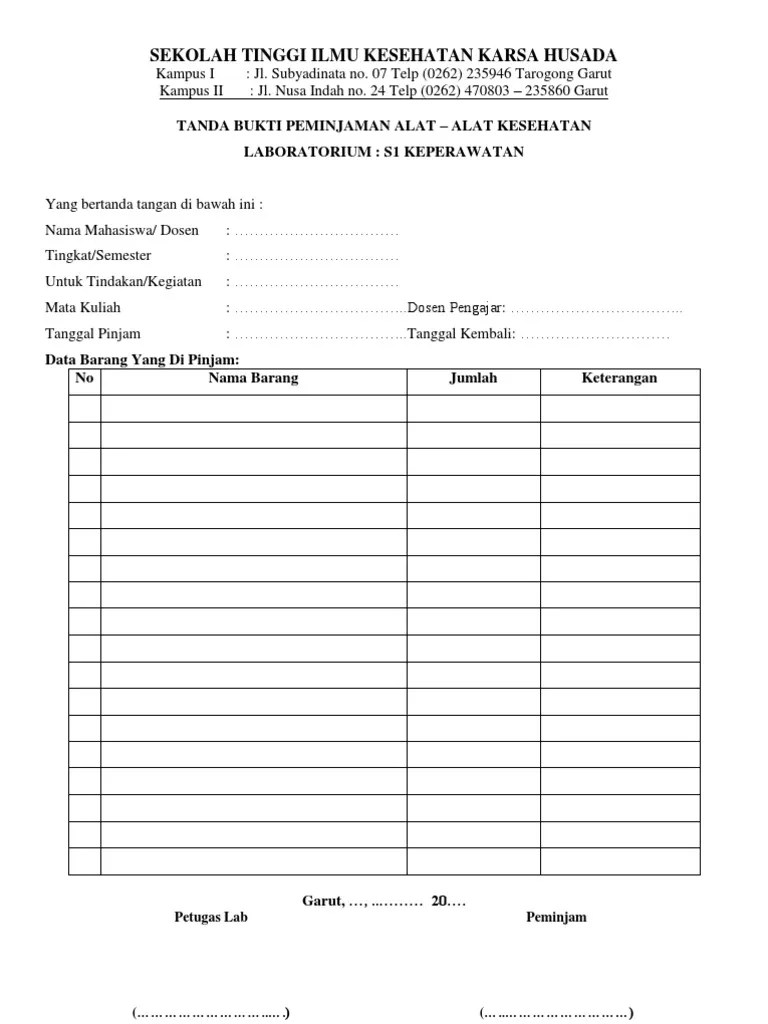 Buku Peminjaman Barang : peminjaman, barang, Peminjaman
