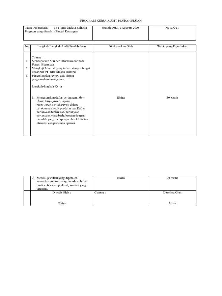 Pengertian pemeriksaan akuntansi (audit) audit merupakan suatu ilmu yang digunakan untuk melakukan penilaian terhadap pengendalian intern dimana bertujuan untuk. Contoh Pka Audit Kinerja - Audit Kinerja