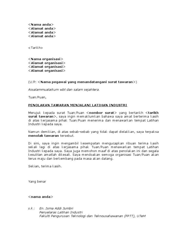 (PDF) Contoh Surat Penolakan Penolakan | Abdullah Luthfi